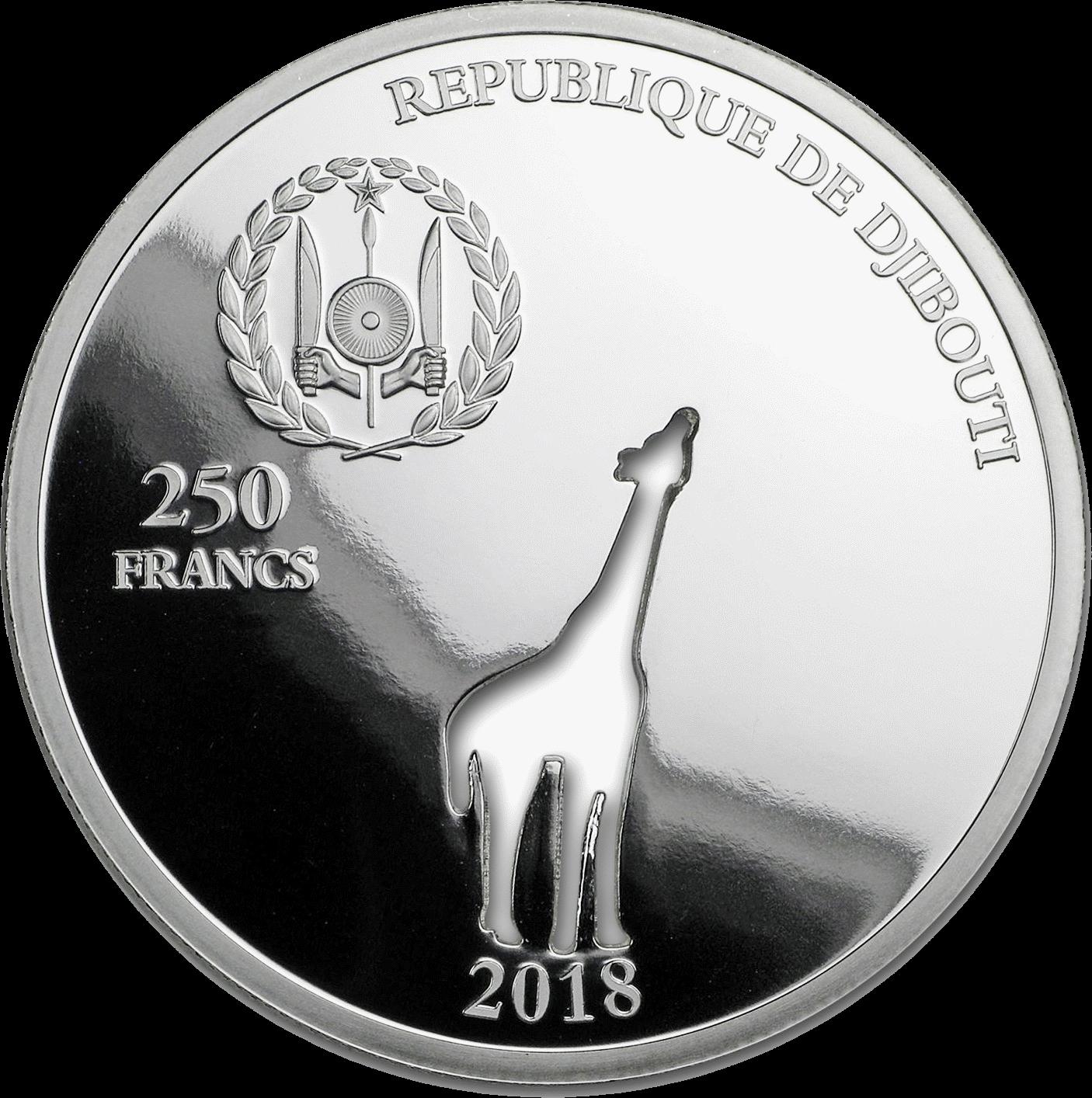 Джибути монета 250 франков Жираф, аверс