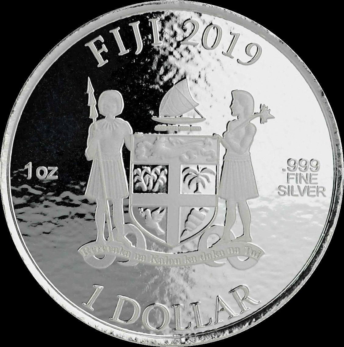 Фиджи монета 1 доллар Кока-Кола Праздничная монета, аверс