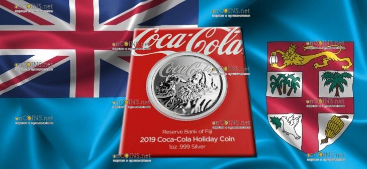 Фиджи монета 1 доллар Кока-Кола Праздничная монета, подарочная упаковка