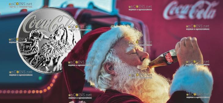 Фиджи монета 1 доллар Кока-Кола Праздничная монета