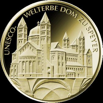 Германия монета 100 евро Шпайерский собор, реверс
