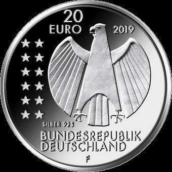 Германия монета 20 евро 250 лет со дня рождения Александра фон Гумбольдта, аверс