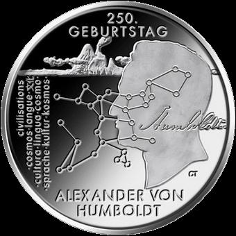 Германия монета 20 евро 250 лет со дня рождения Александра фон Гумбольдта, реверс
