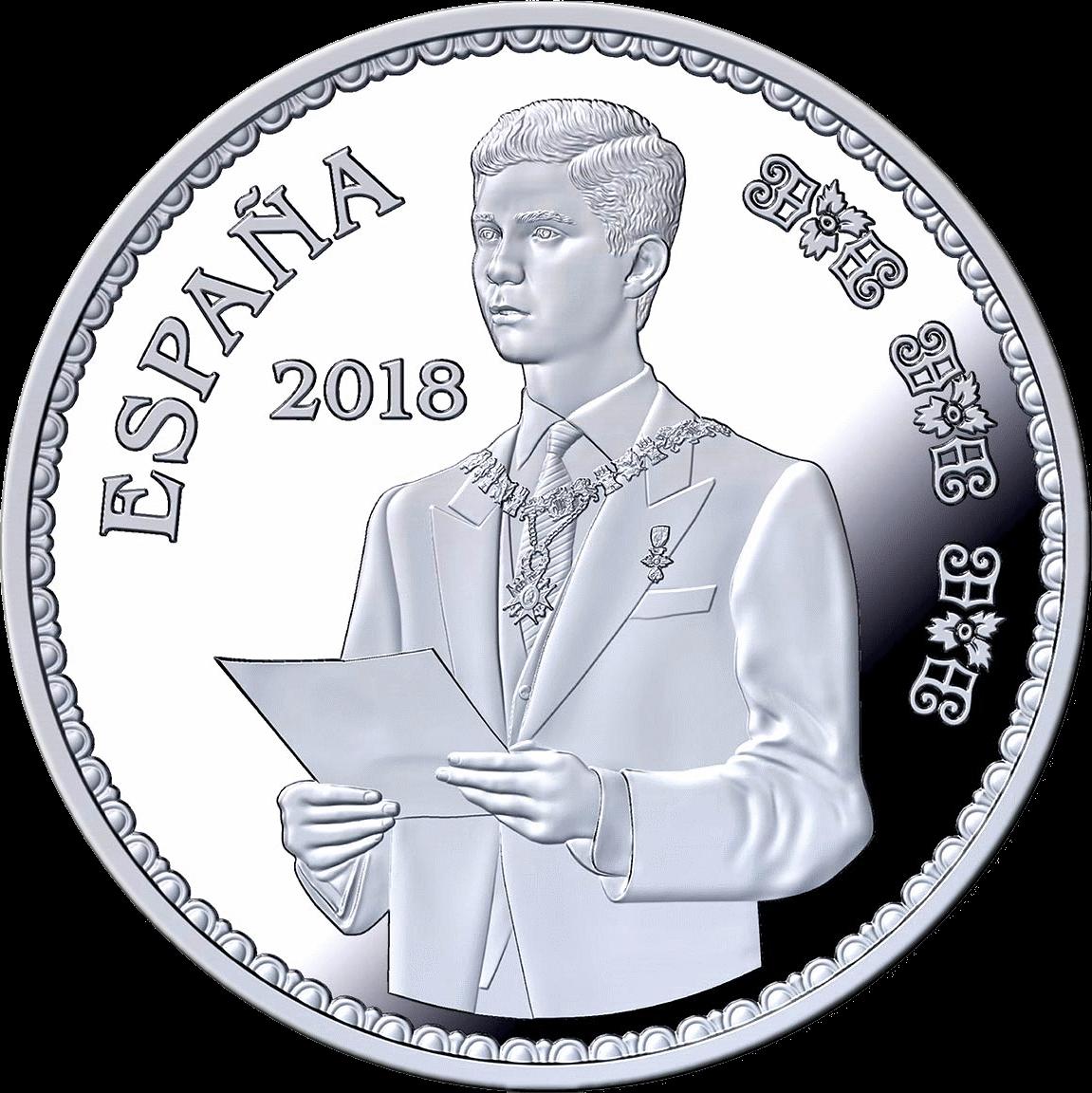 Испания монета 10 евро Клятва принца Филиппа на Конституции 30 января 1986 года, реверс