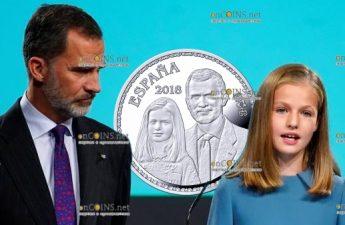 Испания монета 10 евро король Фелипе VI со своей старшей дочерью принцессой Астурийской