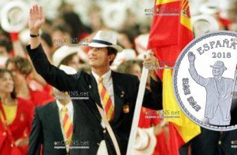 Испания монета 10 евро принц Филипп знаменосец сборной Испании на открытии Олимпиады 25 июля 1992 года в Барселоне