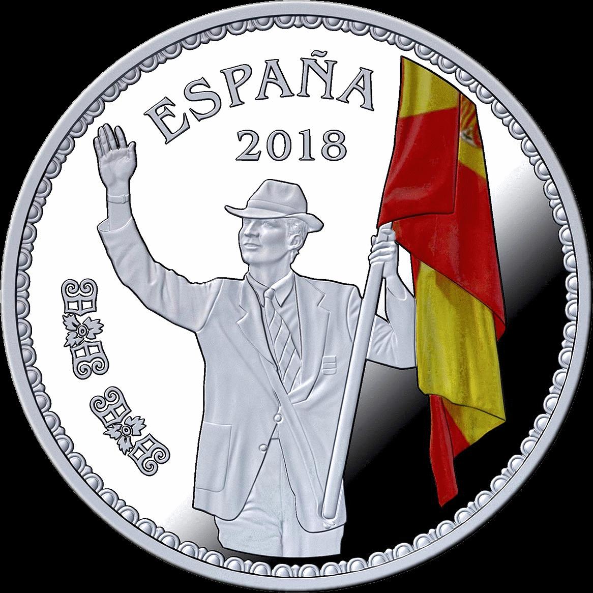 Испания монета 10 евро принц Филипп знаменосец сборной Испании на открытии Олимпиады 25 июля 1992 года в Барселоне, реверс
