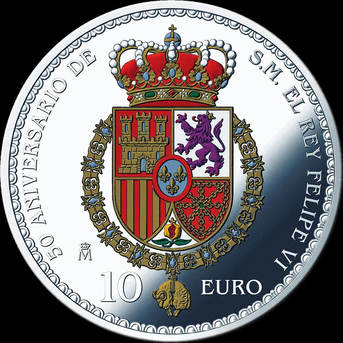 Испания монета 10 евро серии 50-летие со дня рождения короля Филиппа VI, аверс