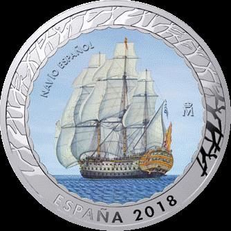 Испания монета 15 евро Испанский корабль, реверс