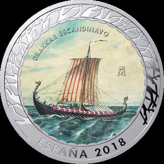 Испания монета 15 евро Скандинавский Драккар, реверс