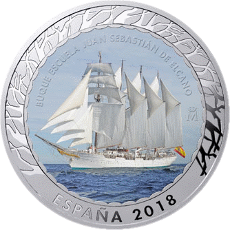 Испания монета 1,5 евро Учебное судно Хуан Себастьян де Элькано, реверс