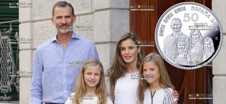 Испания монета 50 евро Семья короля Испании Фелиппа VI