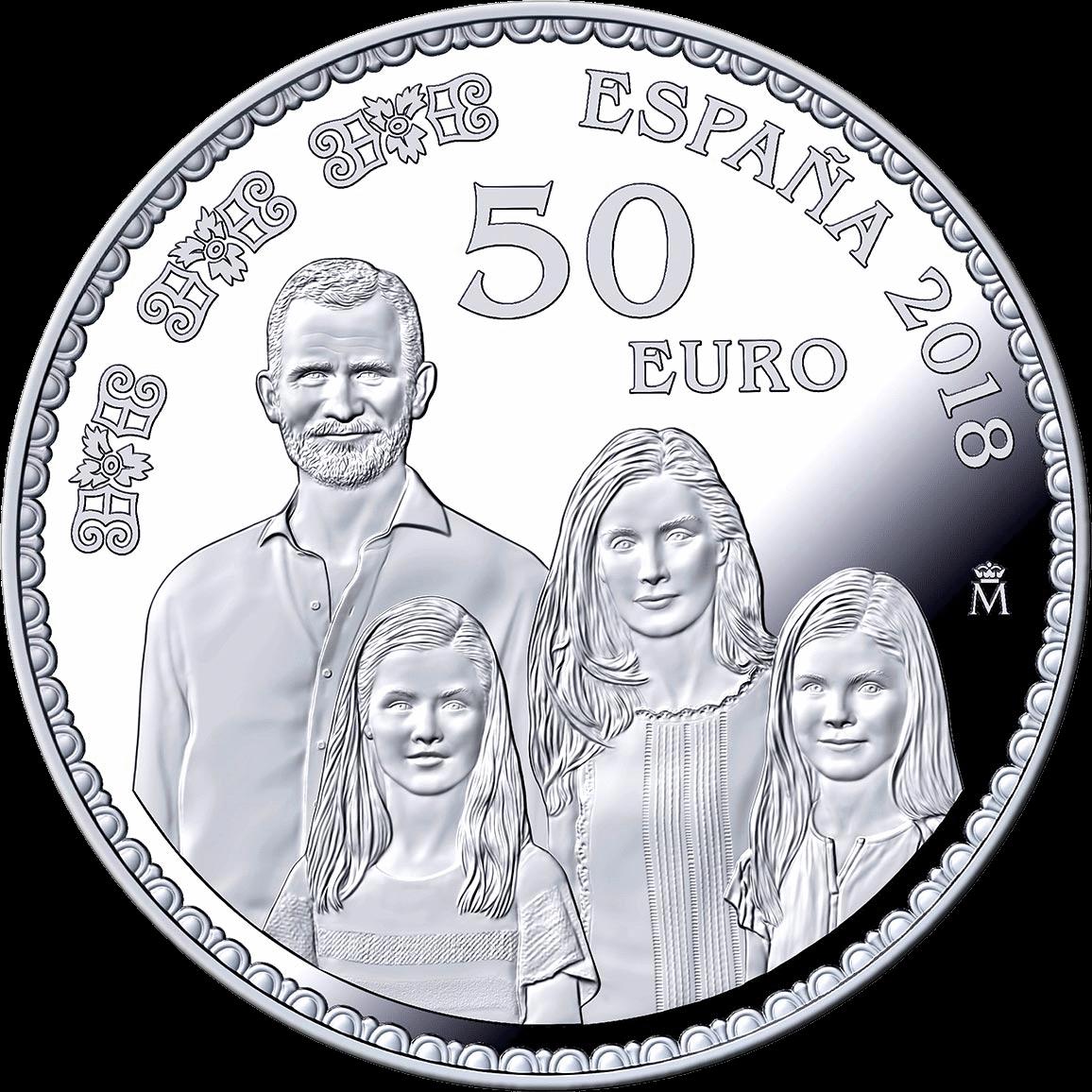 Испания монета монета 50 евро Семья короля Испании Фелиппа VI, реверс