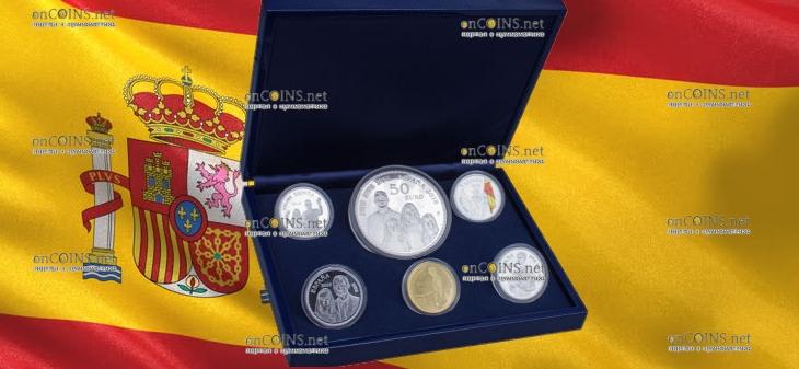 Испания монеты серии 50-летие со дня рождения короля Филиппа VI, подарочная упаковка