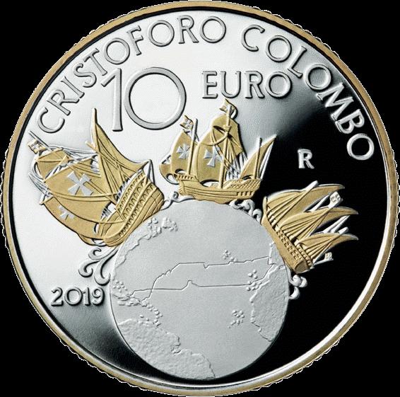 Италия монета 10 евро Христофор Колумб, аверс