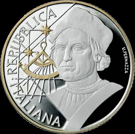 Италия монета 10 евро Христофор Колумб, реверс
