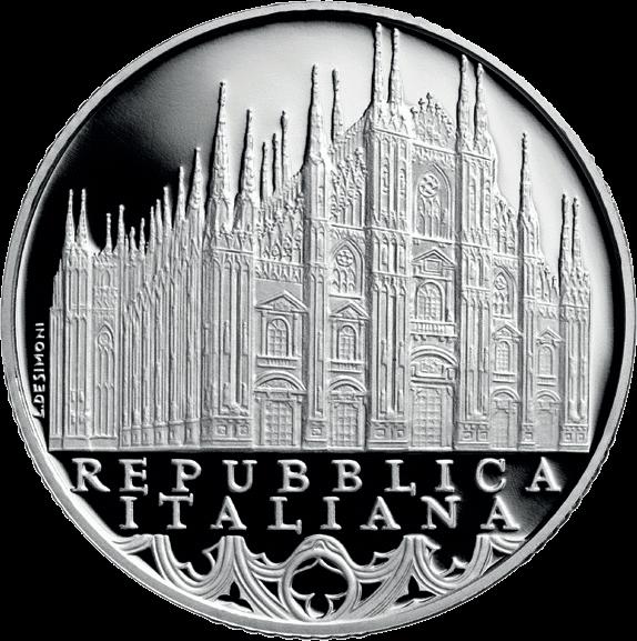 Италия монета 10 евро Ломбардия - Миланский собор, реверс