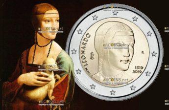 Италия монета 2 евро 500 лет со дня смерти Леонардо да Винчи