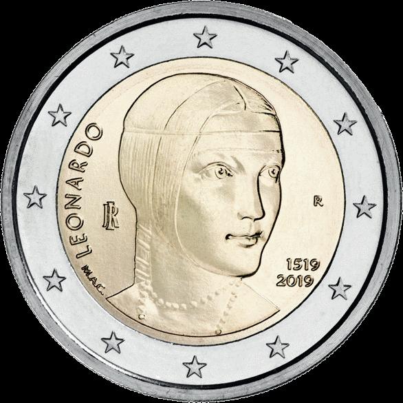 Италия монета 2 евро 500 лет со дня смерти Леонардо да Винчи, реверс