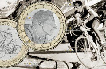 Италия монета 5 евро 100 лет со дня рождения Фаусто Коппи