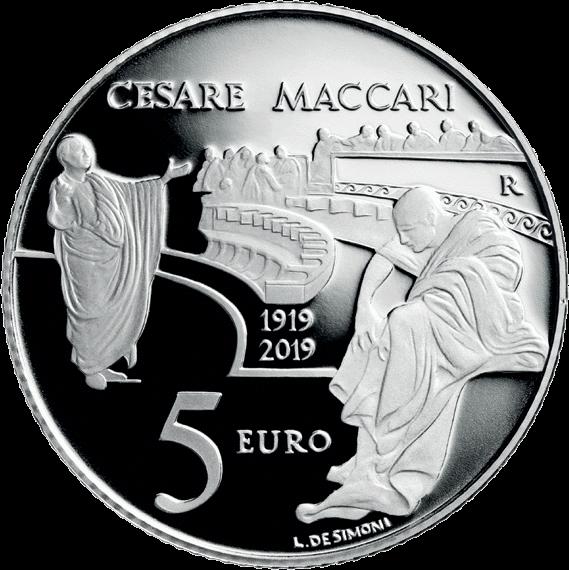 Италия монета 5 евро 100 лет со дня смерти Чезаре Маккари, реверс