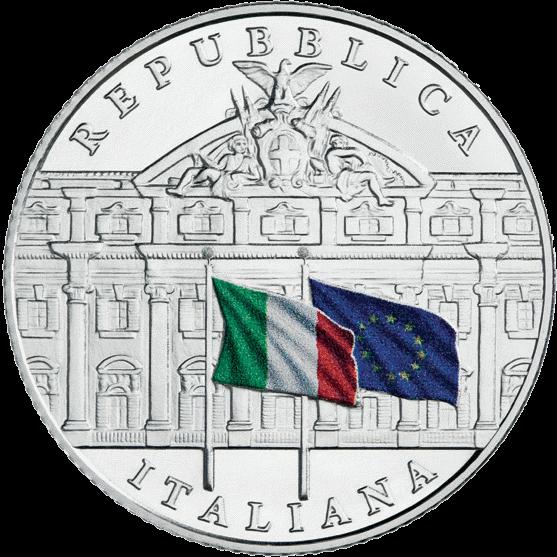 Италия монета 5 евро 150-летие Департамента бухгалтерского учёта, реверс