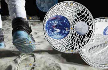Италия монета 5 евро 50-летие высадке человека на Луне