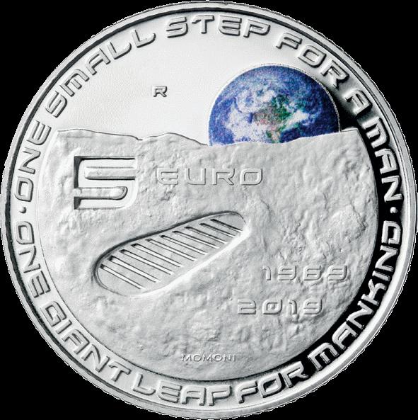 Италия монета 5 евро 50-летие высадке человека на Луне, реверс