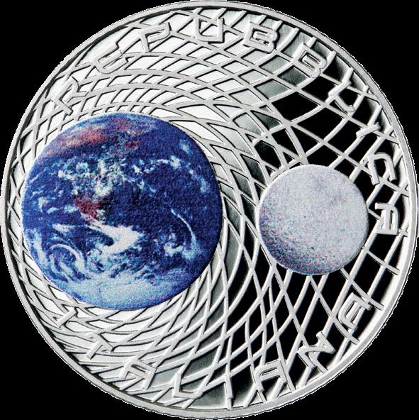 Италия монета 5 евро 50-летие высадке человека на Луне, аверс
