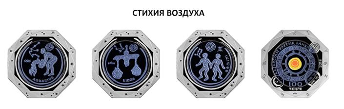 Казахстан серия монет Знаки зодиака - Стихия Воздуха