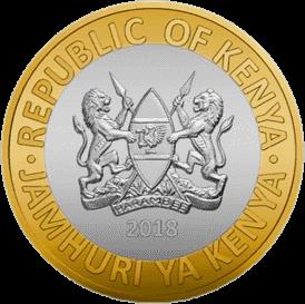 Кения ходовая монета 10 шиллингов 2018 года, аверс