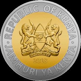 Кения ходовая монета 20 шиллингов 2018 года, аверс