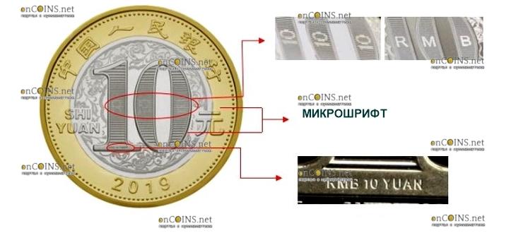 Китай монета 10 юаней Год Свиньи 2019, защитные элементы, аверс