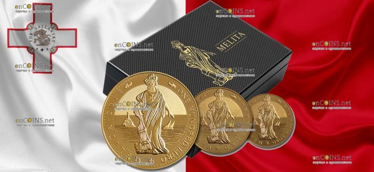 Мальта серия инвестиционных монет 100 евро Мелита, 2018 год, подарочная упаковка