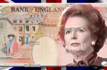 Маргарет Тэтчер появится на новых британских банкнотах 50 фунтов стерлингов