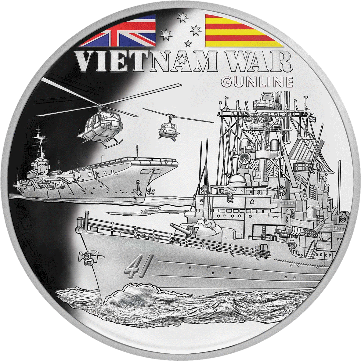 Ниуэ монета 1 доллар Ганлайн, реверс