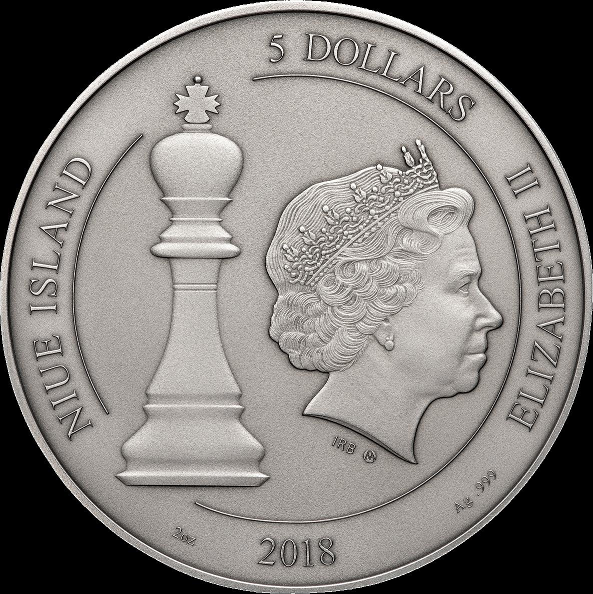 Ниуэ монета 5 долларов Шахматная доска, аверс