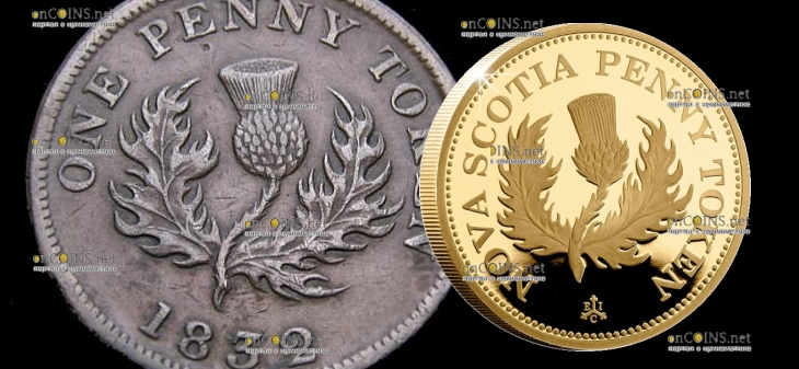 Остров Святой Еелены монета 2 фунта Новый Шотландский пенни