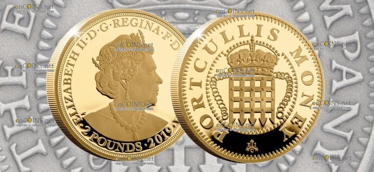 Остров Святой Еелены монета 2 фунта Portcullis Money