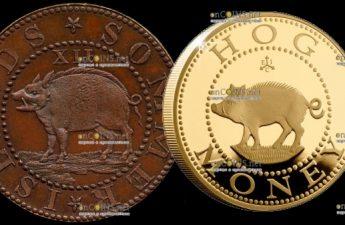 Остров Святой Елены выпустил монету 2 фунта Hog Money