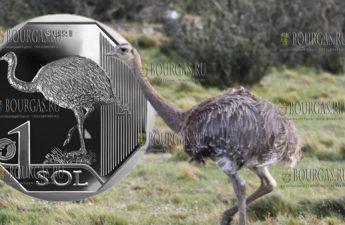 Перу монета 1 соль Дарвинов нанду, реверс