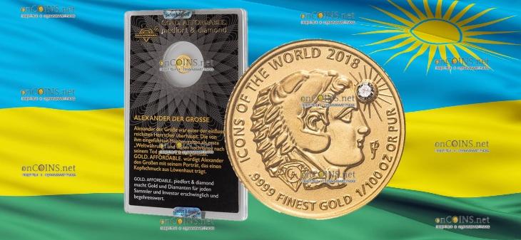 Руанда монета 10 франков Александр Великий с головой льва, 2018, подарочная упаковка