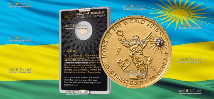 Руанда монета 10 франков Ангел Независимости, 2018, подарочная упаковка