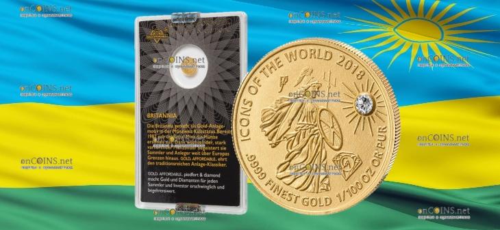 Руанда монета 10 франков Британия, 2018, подарочная упаковка