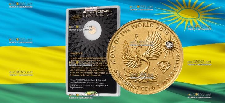 Руанда монета 10 франков Феникс, 2018, подарочная упаковка