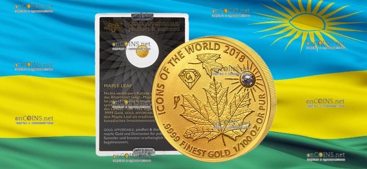 Руанда монета 10 франков Кленовый лист, 2018, подарочная упаковка