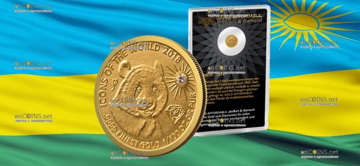 Руанда монета 10 франков Панда, 2018, подарочная упаковка