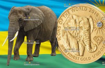 Руанда монета 10 франков Слон, 2018