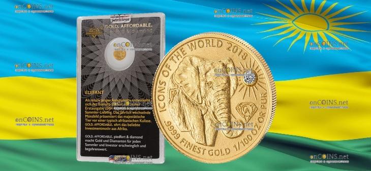Руанда монета 10 франков Слон, 2018, подарочная упаковка