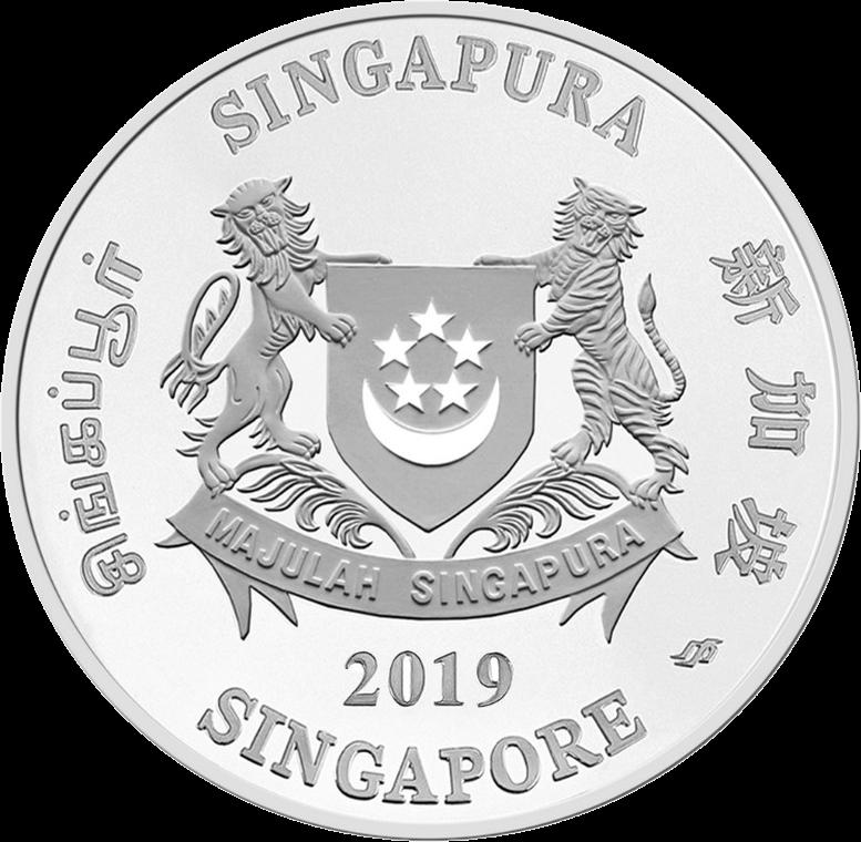 Сингапур монета 20 долларов Год Свиньи 2019, аверс